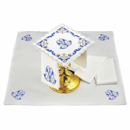 Set linge autel coton broderie gris bleu initiales Vierge Marie s1