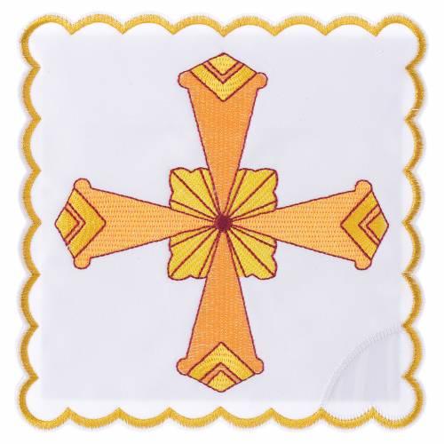 Set linge d'autel 4 pcs croix jaune s1