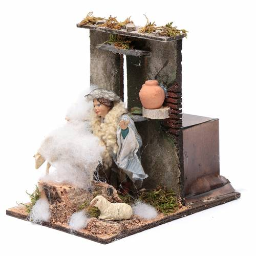 Sheep shearer animated figurine for Neapolitan Nativity, 10cm s2