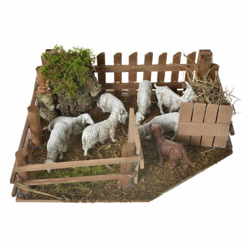 Sheepfold with dog for nativities 6x19x14cm s1
