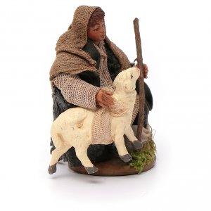 Shepherd with small sheep 10 for nativity set s3