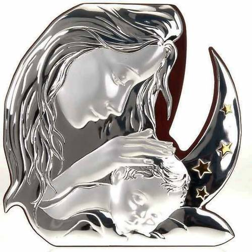 Silver Bas Relief Madonna stars and moon s1