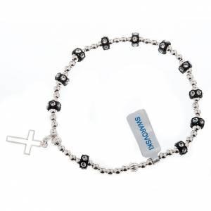Silver elastic bracelet and Swarovski pearls s1
