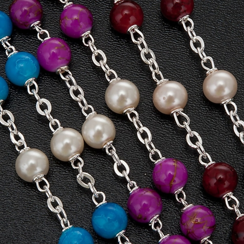 Silver plated and glass rosary s8