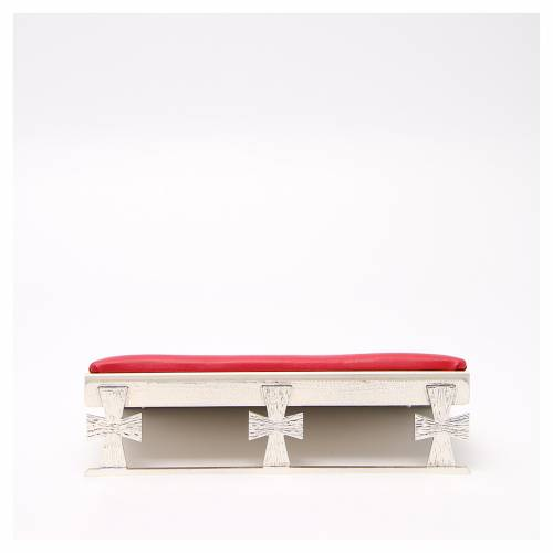 Silver-plated book stand with red cushion s1