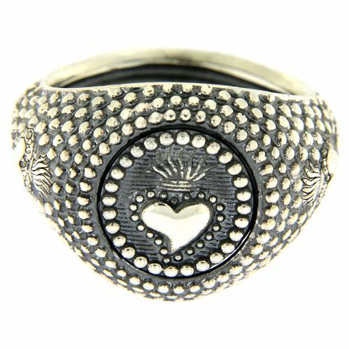 Silver ring votive heart engraving s2