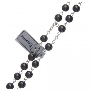 Silver rosary with real hematite grains s3