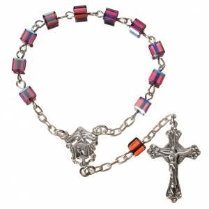 Single decade rosaries: Single-decade rosary 800 silver, Swarovski square grains, fuchsi