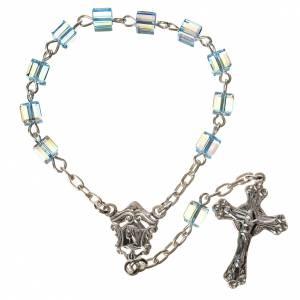 Single decade rosaries: Single-decade rosary 800 silver, Swarovski square grains, light