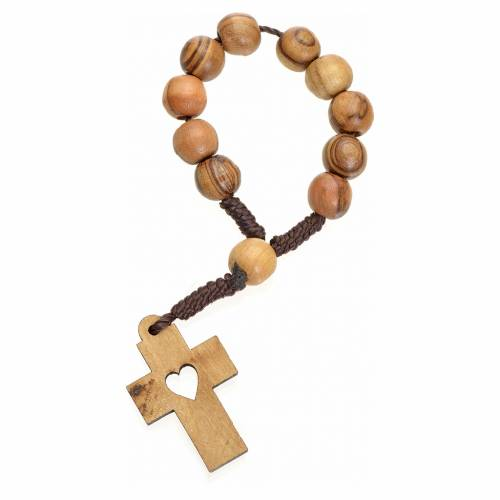 Single decade rosary in Holy Land olive wood, cross and heart s2