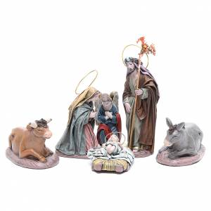 Nativity Scene figurines: Six characters in terracotta and fabric for nativities of 17cm