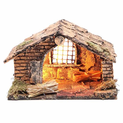 Small stable for Neapolitan Nativity scene measuring 20x14x13cm s1