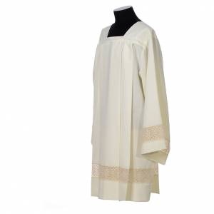 Albas litúrgicas: Sobrepelliz marfil 100% poliéster encaje 4 pliegues