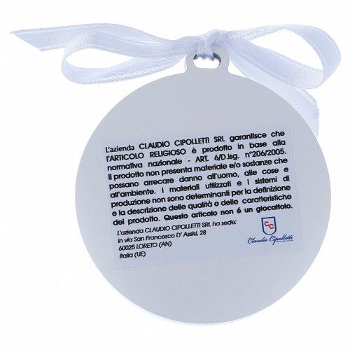Sopraculla Angeli in bilaminato nastro bianco finiture oro 4 cm s2