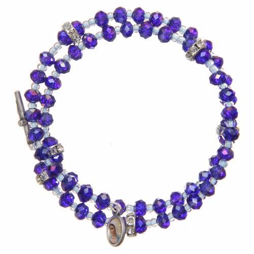 Spring bracelet violet beads and cross, Our Lady of Medjugorje medal s1