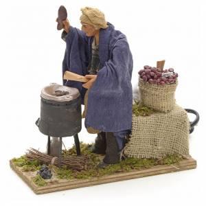 Szopka neapolitańska: Sprzedawca kasztanów 14 cm 2 ruchy terakota