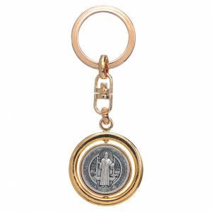 Key Rings: St Benedict revolving medal golden key ring