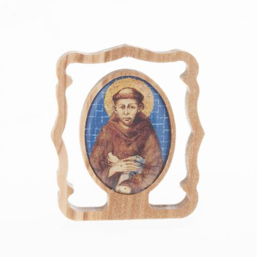 St Francis picture in olive wood s1