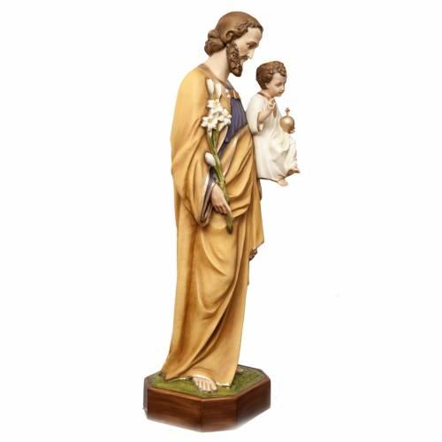 St Joseph à l'enfant 130 cm fibre de verre peinte s6