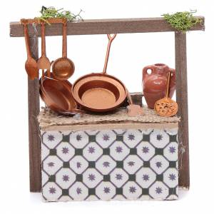 Miniature food: Stall with pans