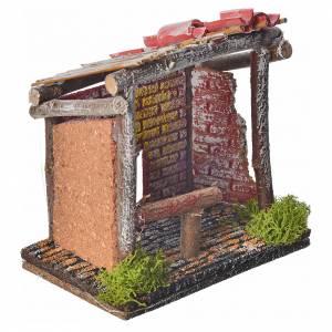 Stalla per animali in legno per presepe 14x14x9 con porta s2