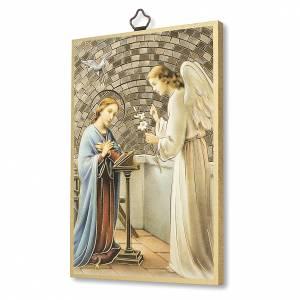 Quadri, stampe, codici miniati: Stampa su legno San Gabriele Arcangelo Preghiera ITA