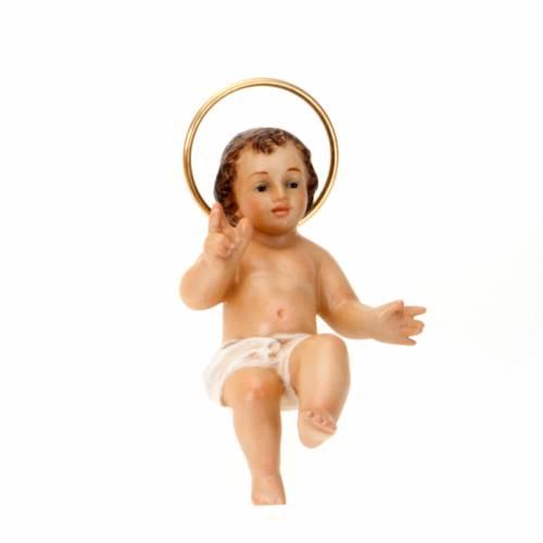 Gesù bambino legno benedicente vestina bianca dec. elegante s3