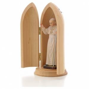 Statua Papa Giovanni Paolo II in nicchia legno s2