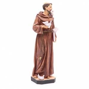 Statua S. Francesco 40 cm resina colorata base s4