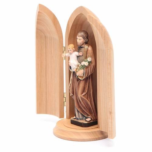 Statua San Giuseppe con bambino in nicchia legno dipinto s2