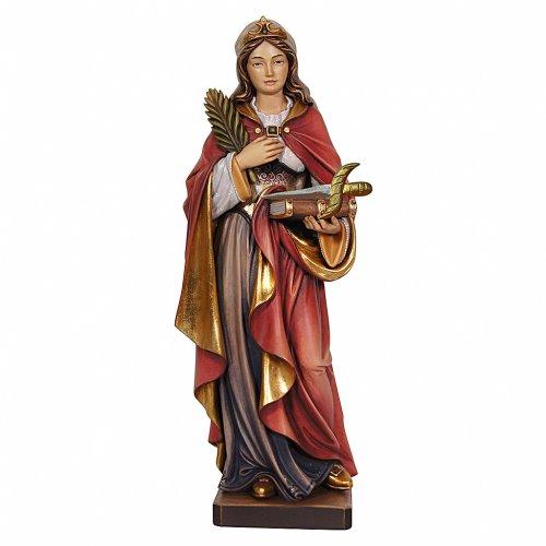 Santa Vittoria con spada dipinta legno acero Valgardena s1
