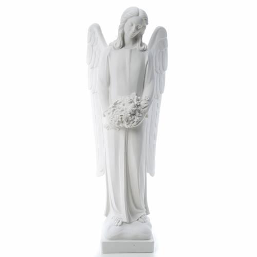 Statue Ange avec fleurs 80 cm marbre s1
