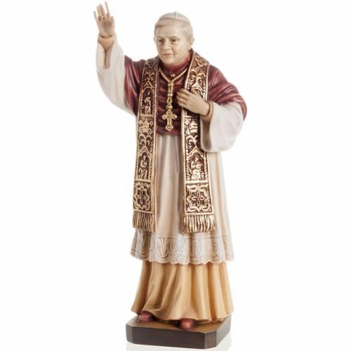 Statue bois Benoît XVI peinte s1