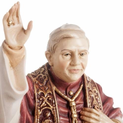 Statue bois Benoît XVI peinte s3