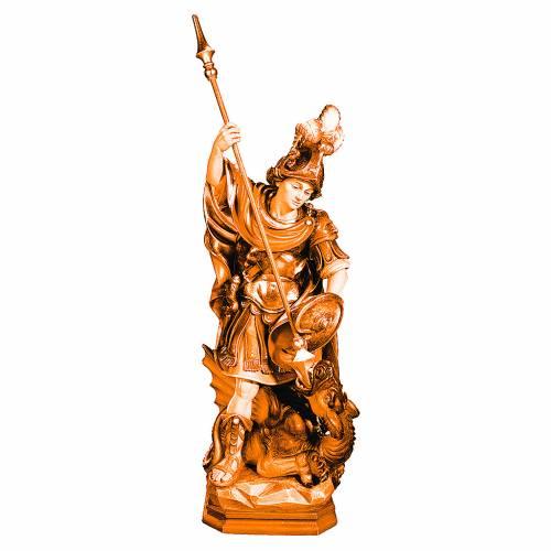 Statue de Saint Georges bois nuances brun lance dragon s1