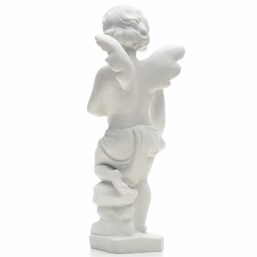 Statue extérieur Angelot marbre blanc 25 cm s2