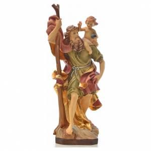 Statuen aus gemalten Holz: Statue Heilig Cristoforo Holz