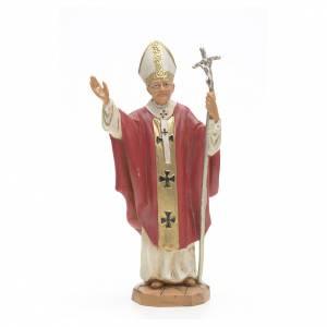 Statuen aus Harz und PVC: Statue Johannes Paul II rote Kleidung 18cm, Fontanini