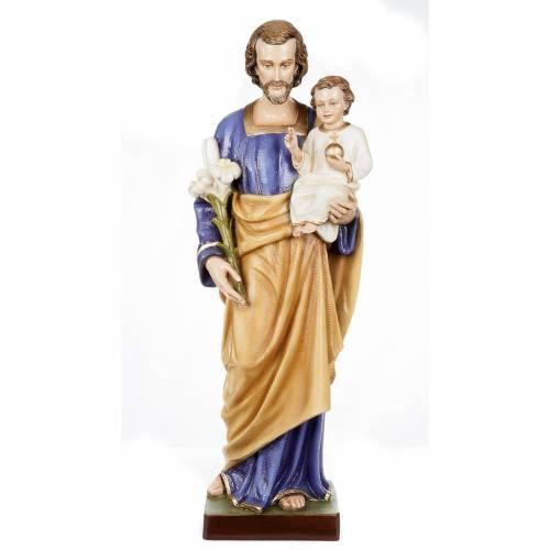 Statue Saint Joseph à l'enfant marbre 80cm peinte s1