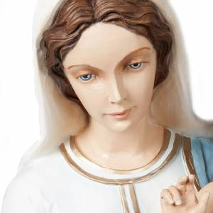 Statue Vierge à l'enfant marbre reconstitué 85cm peinte s5