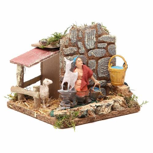 STOCK animated nativity figurine 10cm shepherd and sheep s3