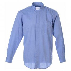 Camisas Clergyman: STOCK Camisa m. larga fil a fil celeste