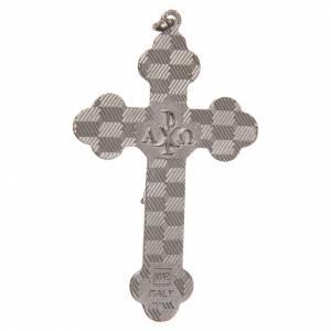 STOCK Croix métal nickelé émail noir Christ 8,5 cm s2