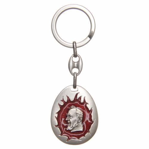 STOCK Key ring Padre Pio red enamel, drop shaped s1