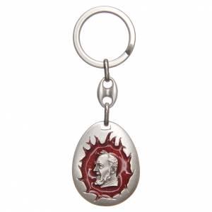 Porte-clés: STOCK Porte-clef Saint Pio goutte émail rouge
