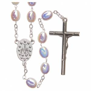 STOCK Rosary opalescent white glass, hand setting s2