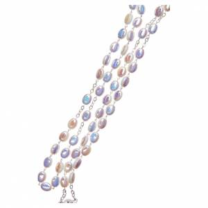 STOCK Rosary opalescent white glass, hand setting s3