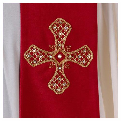 Stola in lana ricamata a mano rosso - Monastero Montesole s2
