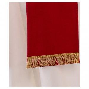 Stola in lana ricamata a mano rosso - Monastero Montesole s3
