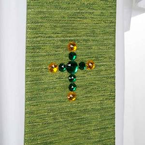 Priesterstolen: Stola Lurex mit Kreuz und Glassteinen